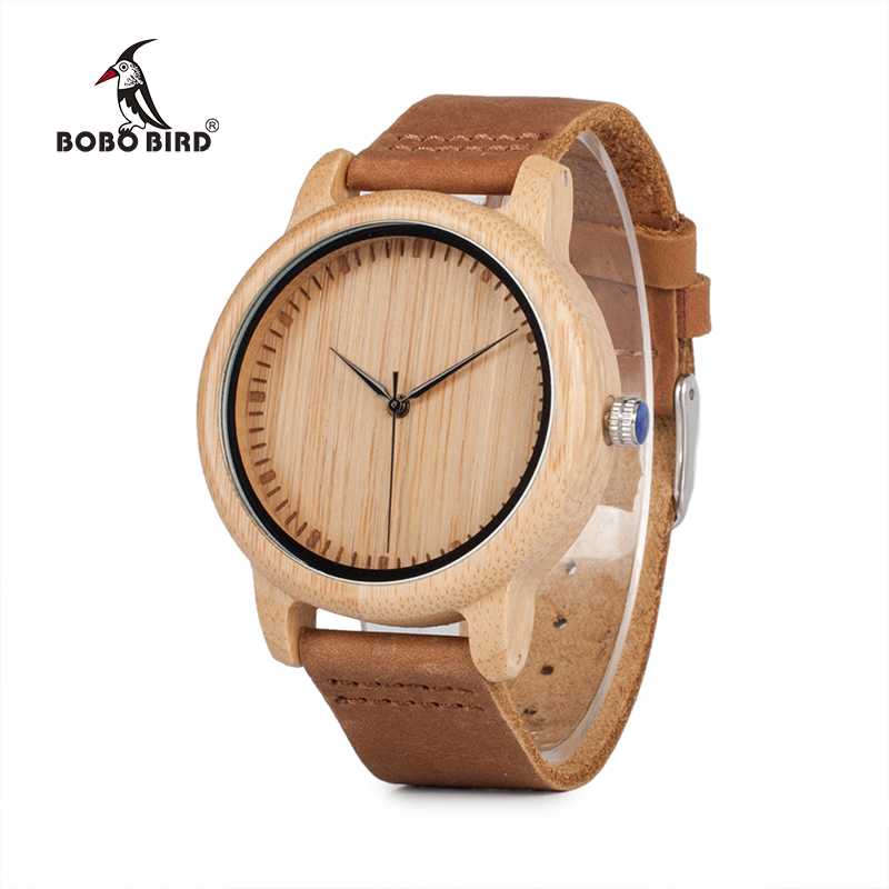 Luxury Bobo Bird Bamboo Wood Watches For Men And Women Quartz Fashion Casual Leather Strap Wrist Watch Male Relogio C-A15