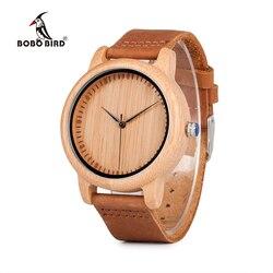Luxus Bobo Vogel Bambus Holz Uhren Für Männer Und Frauen Quarz Fashion Casual Lederband Armbanduhr Männlichen Relogio C-A15