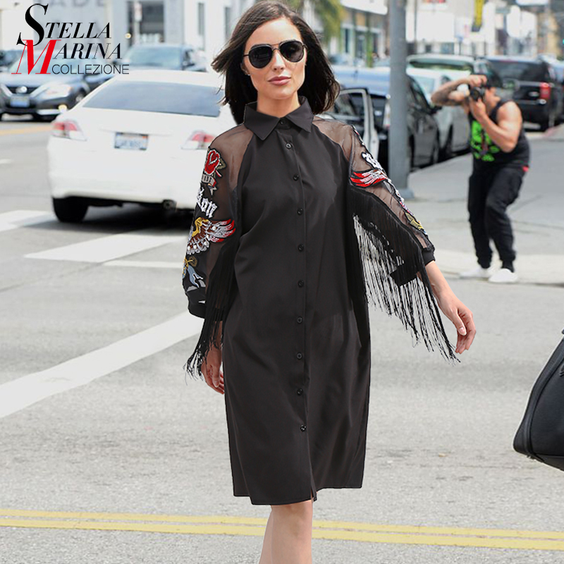 New 2018 Women Black Shirt Dress 3/4 Mesh Sleeved With Embroidery Patches & Sashes Girls Stylish Midi Party Dress Club Wear 3398