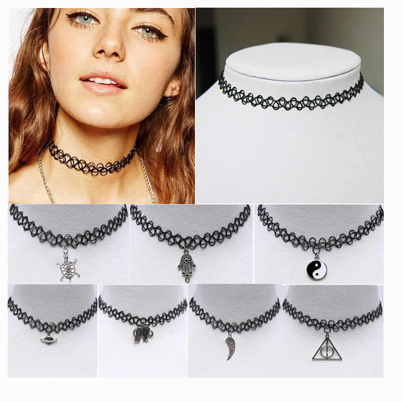2019 New Vintage Stretch Tattoo Choker Necklace Gothic Punk Grunge Henna Elastic with Pendant Necklaces For Dropshipping