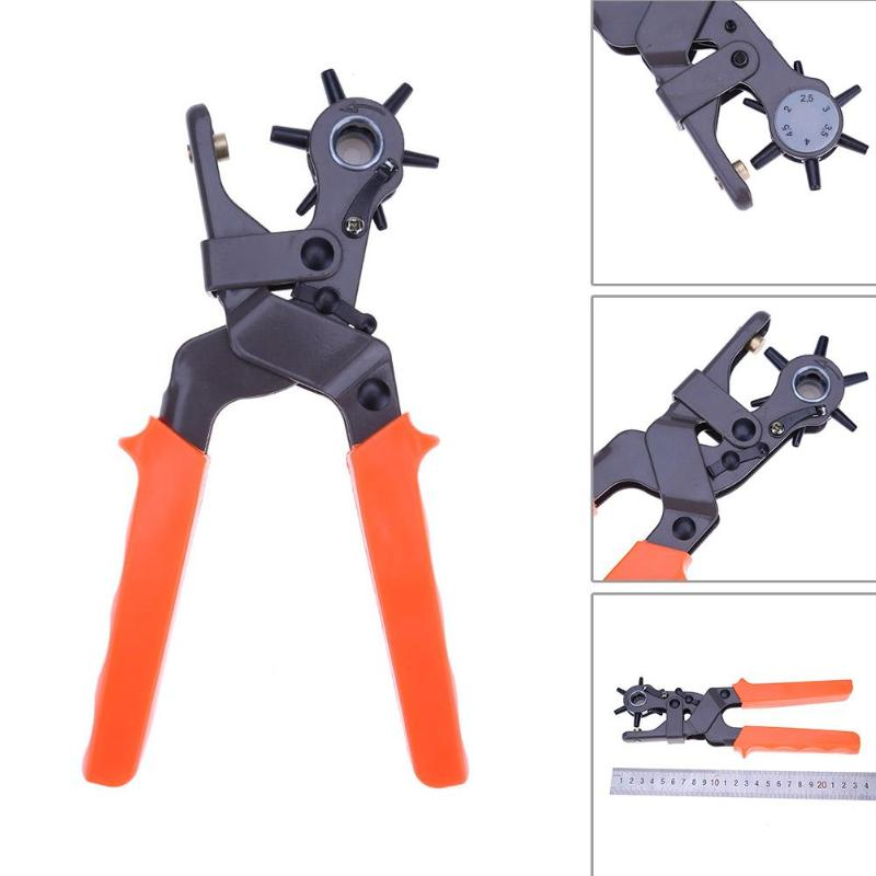 Leather Belt Eyelet Hole Punch Pliers Heavy Duty Band Revolving Puncher