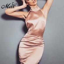 Max Spri 2019 Summer New Fashion Halter Sleeveless Backless Chain Women Party Bandage Midi Bodycon Dress