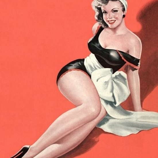 Pin Up Girl Brunette With Big White Bow Poster Print (24 x 36)