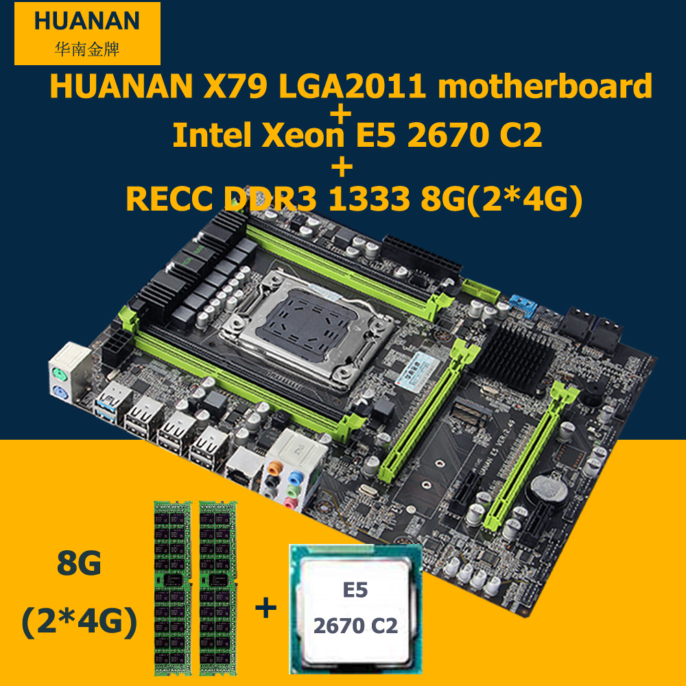 HUANAN X79 motherboard CPU RAM combos X79 V2 49 LGA2011 mainboard Xeon E5 2670 C2 memory