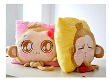 a pair of happy monkey pillow toys plush boy yoyo and girl cici monkey pillow dolls wedding gift about 35x35cm