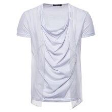 Men's casual short sleeve t shirt 2018 summer new Fashion Tops brand  Heap collar Hip-hop design Tees t-Shirt men US large size t shirt men brand 2017 men s fashion heap collar design tops