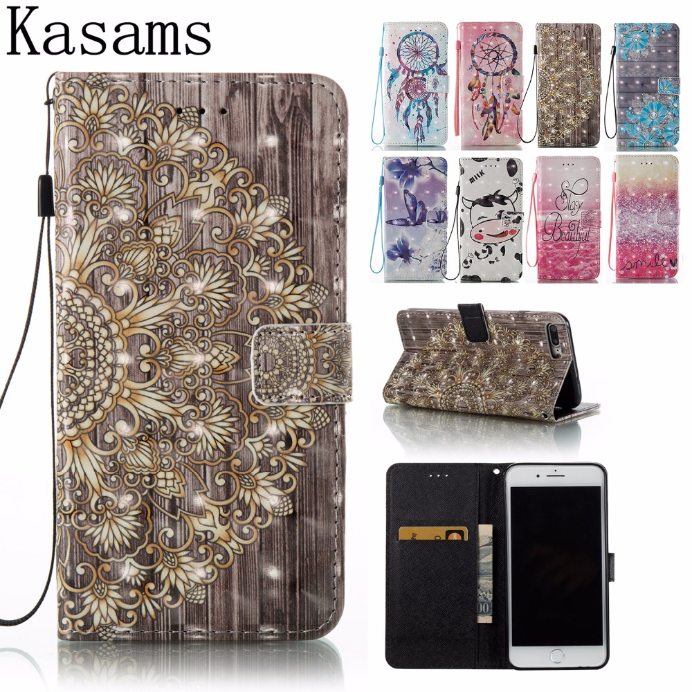 Book Cases For iPhone 7 Plus 7+ Phone Case For Apple iPhone 7 PU Leather Flip Cover 3D Art Painting Sheell Fundas Coque iPhone7