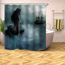 Fairy Tale Mermaid Polyester Waterproof Shower Curtain with 12pc Plastic Hooks Mildew Resistant Bath Curtain Home Bathroom Decor mermaid sequins waterproof polyester shower curtain with hooks