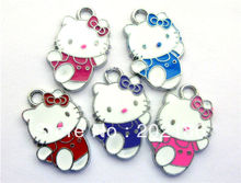 Stock wholesale 100pcs Hang Pendant Charm mixed color Zinc alloy Approximately 20x15mm hello kitty fit necklace cell phone charm(China)