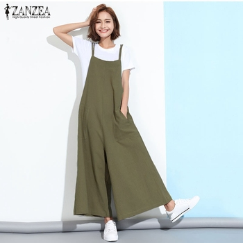 ZANZEA New Summer Rompers Womens Jumpsuits 2018 Sleeveless Straps Pockets Solid Wide Leg Full Length Overalls Plus Size Macacao