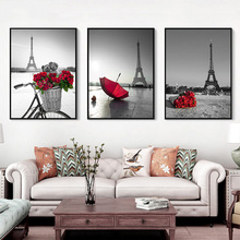 Paris Red Rose Umbrella Canvas Painting Artistic Conception Landscape Posters Prints Modern Nordic Wall Picture Home Decoration