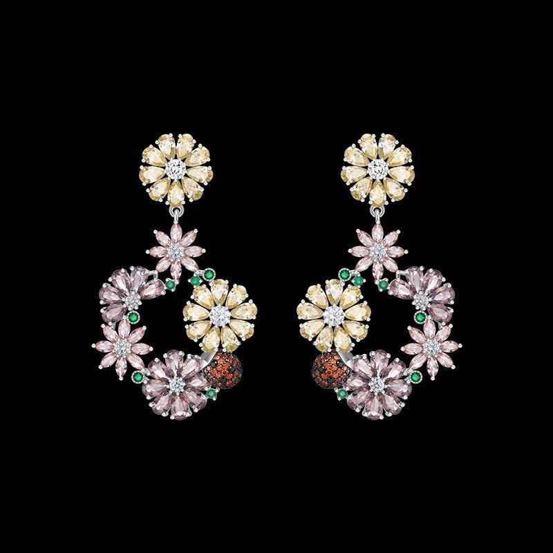 Luxury Colorful Zircons Crystal Blossom Flower Earrings Delicate S925 Sterling Silver Hoop Earrings Brand Design Women Jewelry