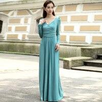 Hoge kwaliteit modal soft lange mouwen mint blauw party prom maxi dress gown plus maten beschikbaar