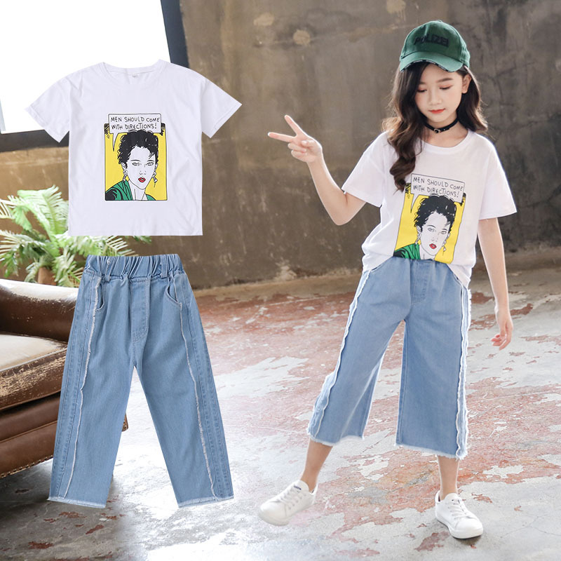 Summer <font><b>girls</b></font> sets Print cotton T-shirts+capris jean 2pcs Suits for <font><b>Teenager</b></font> kids fashion children clothing baby <font><b>girl</b></font> <font><b>clothes</b></font> image