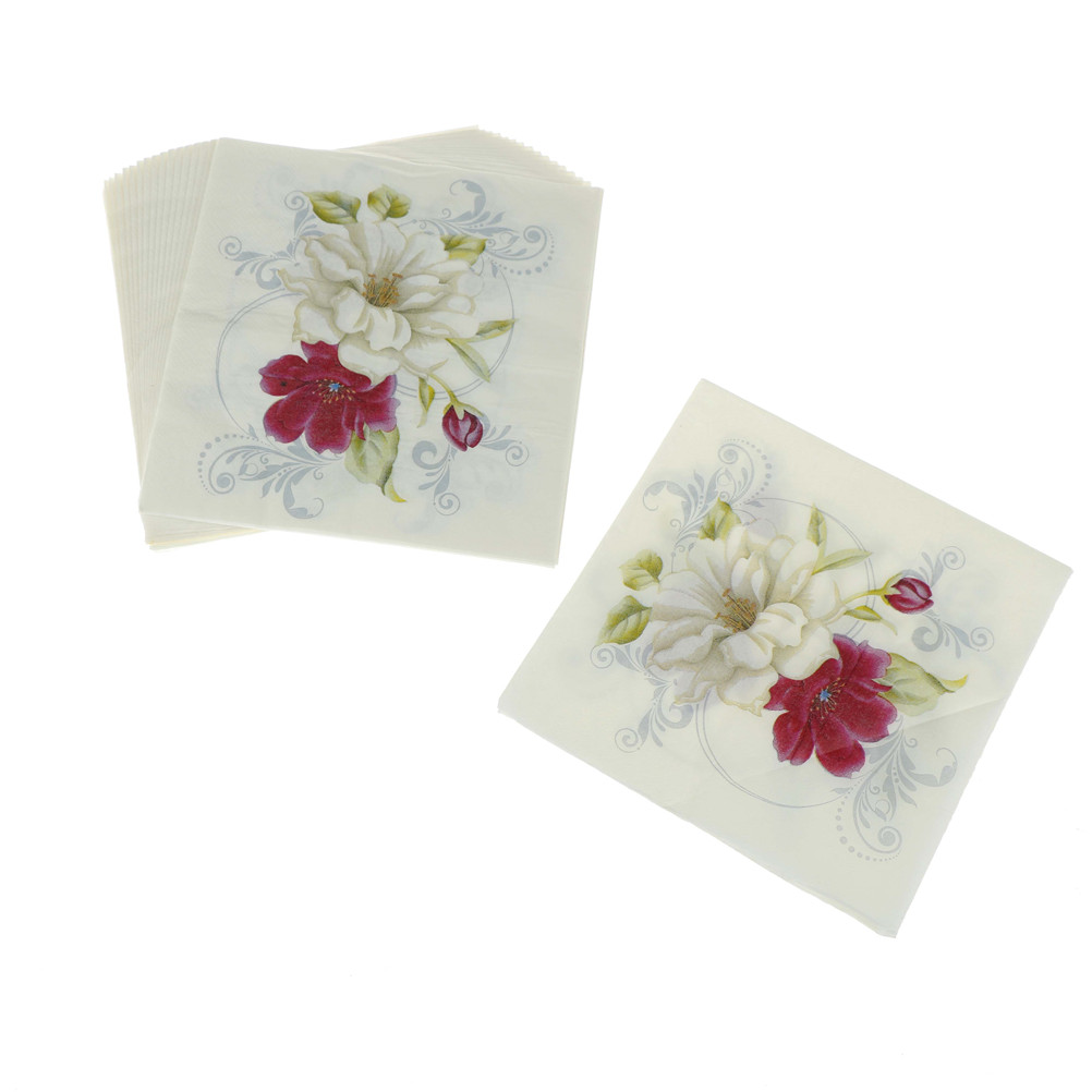 20Pcs Red White Flower Lily Printed Napkins Paper Cocktail Servetten Birthday Serviettes Vintage Tissue Wedding Party Decoration