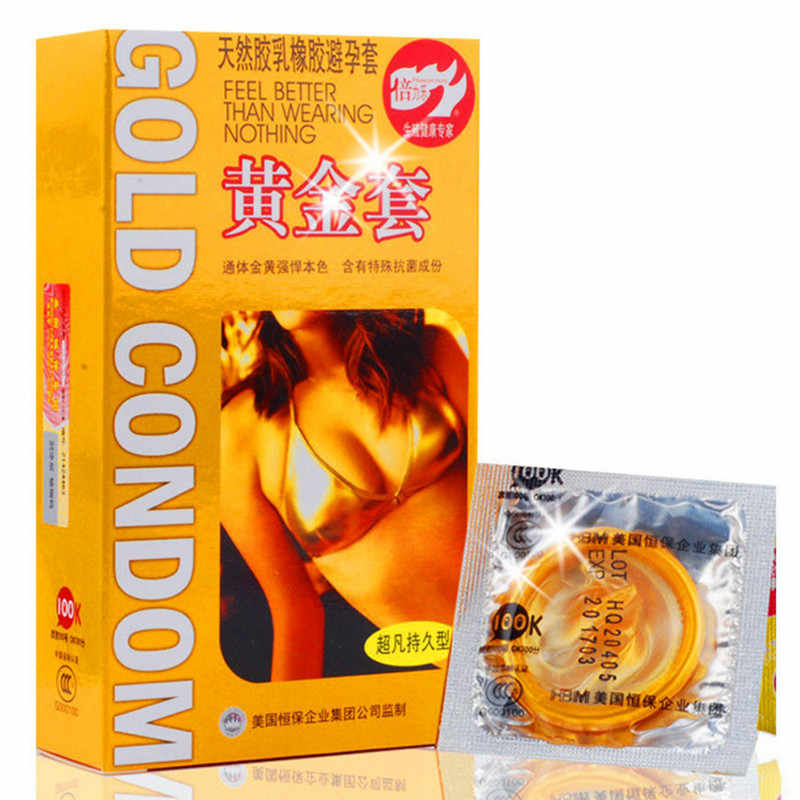 ... Beilile 20 Pcs Gold Lasting Long Delay Gay Condom Natural Latex Penis  Sleeve Contraception Condoms For