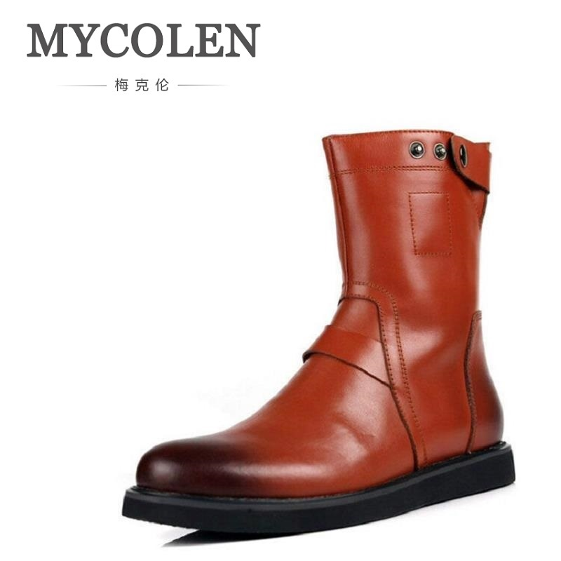 MYCOLEN Brand Luxury Fashion Mens Ankle Boots Genuine Leather High-Top Boots Customized Handmade Men Dress Shoes for Party недорого