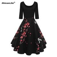 HimanJie Women Plum Flower Vintage Dress O Neck HalfSleeve A Line Floral Feminino Vestidos S XL