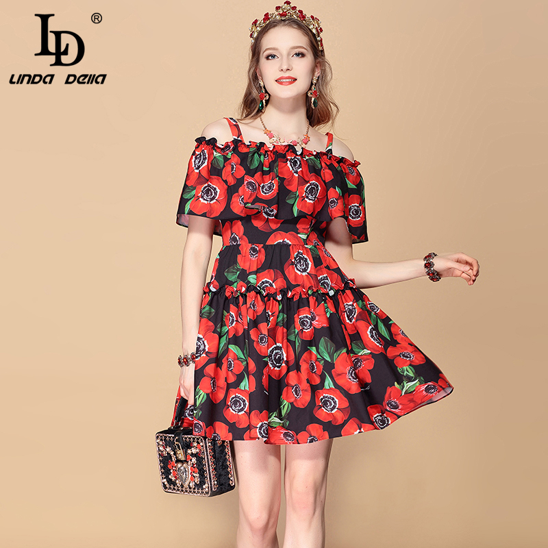 LD LINDA DELLA 2019 Fashion Runway Holiday Summer Dress Women s Spaghetti Strap Ruffles Floral Print