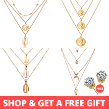 Buy 1 Get 1 Gift Gold Silver Multilayer Necklace