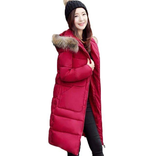 Winter Jacket Women Long Fur Hooded Winter Coat Women Cotton Padded