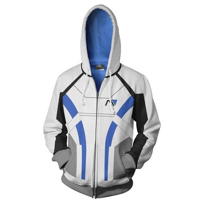 Movie MASS EFFECT Sweatshirts Hoodie Cosplay Costume Jackets Zipper Hoded