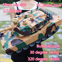 50cm Big Size America M1A2 2.4G Remote Control Tank 1:18 RC Battle Tank Bullet launch Tracked gun barrel 320 degree rotate tank