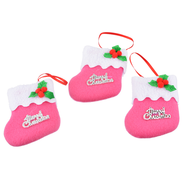 6pcs 2017 new mini pink christmas stocking dinnerware cover xmas tree ornaments merry christmas party supplies