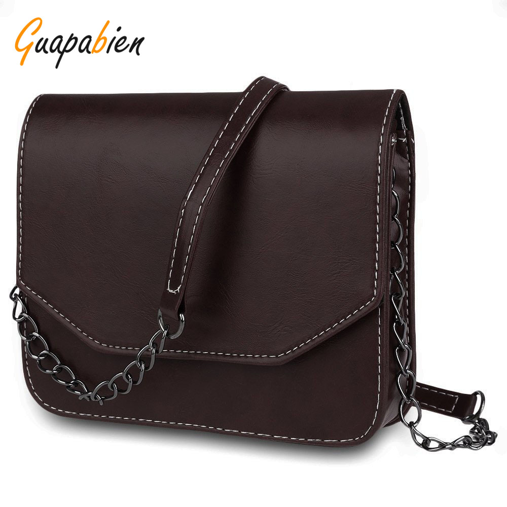 Guapabien 2017 Spring Summer Women Handbag Retro Solid PU Leather Chains Shoulder Bag Satchel Casual Messenger Small Bag Bolsas