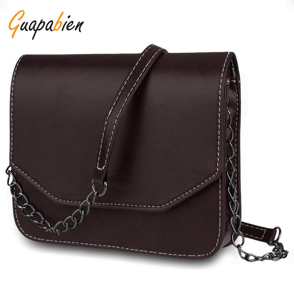 Guapabien 2017 Spring Summer Women Handbag Retro Solid PU Leather Chains Shoulder Bag Satchel Casual Messenger Small Bag Bolsas