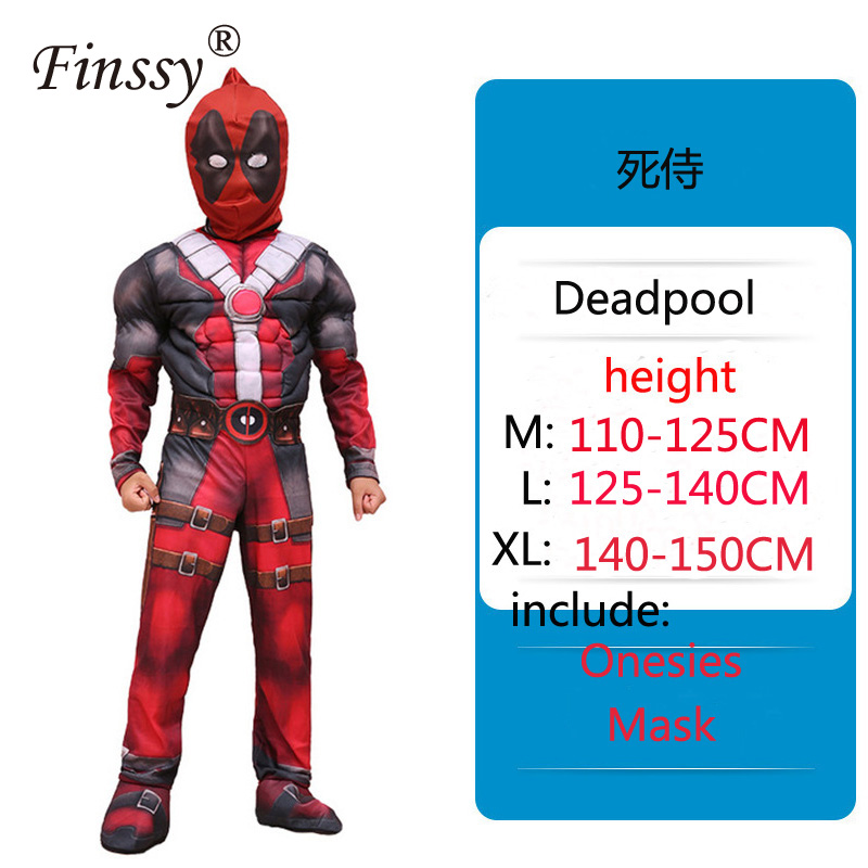 Avengers Deadpool Muscle Coplay Costume Halloween Carnival Holiday Party Onesies Very Cool Birthday Present for Kids