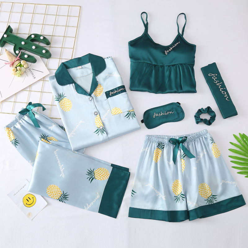 7 Pieces Pajamas Set Women Print Long and Short Suit Sleepwear Nightwear Ladies Thin Smooth Pyjamas Set