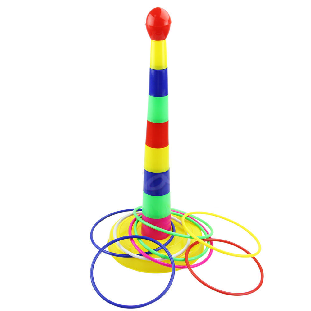 Multicolor Baby Stacking Rings Children Ring Toss Cast Throw Circle Set Toys Family Game Classic Intelligence Educational Toys