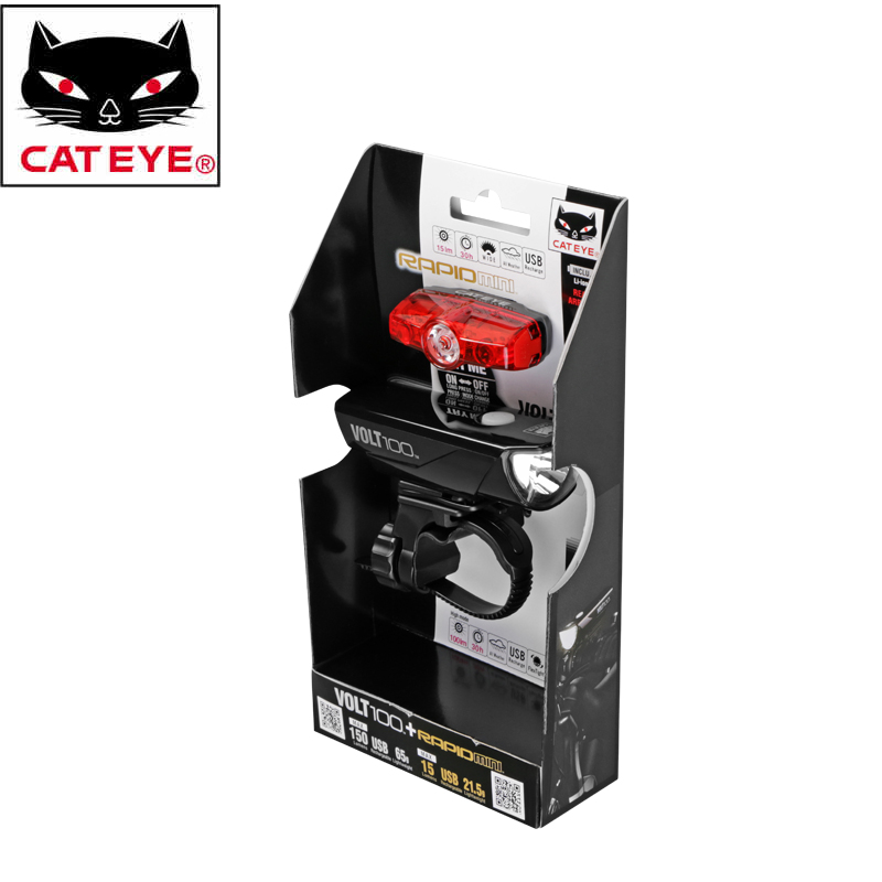 CATEYE Professional Bike Bicycle USB-rechargeable Handlebar Front Light+Seatpost Rear Tail Lamp Cycling Riding Safety Light Lamp