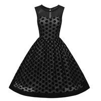 Elegant Women Polka Dot Retro Style Black Tulle Wedding Party Knee Length A Line Vintage Swing