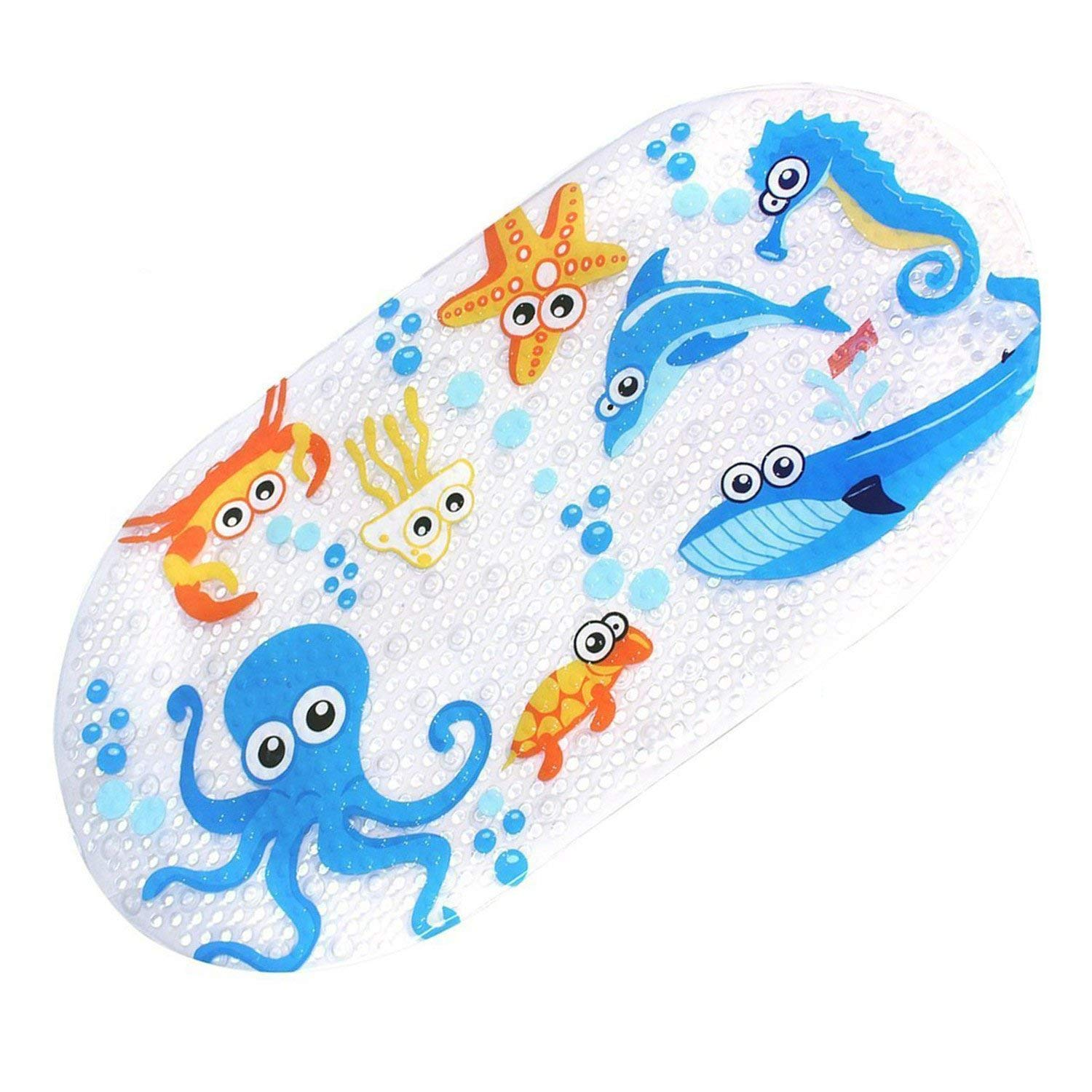 Non-slip Baby Bath Mat Toddler Anti-Bacterial Bathtub Mat, Shower Mat 27 Inch X15 Inch - Durable Mildew Mold Resistant PVC - P