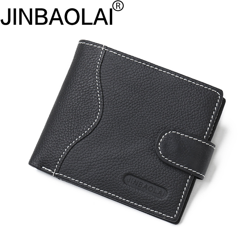 New 2018 JINBAOLAI Men Wallets Leather Genuine With Coin Bag Male Wallet Casual Purse Card Holder Wallet Men Carteira Wallets contact s thin genuine leather men wallet small casual wallets purse card holder coin mini bag top quality cow leather carteira