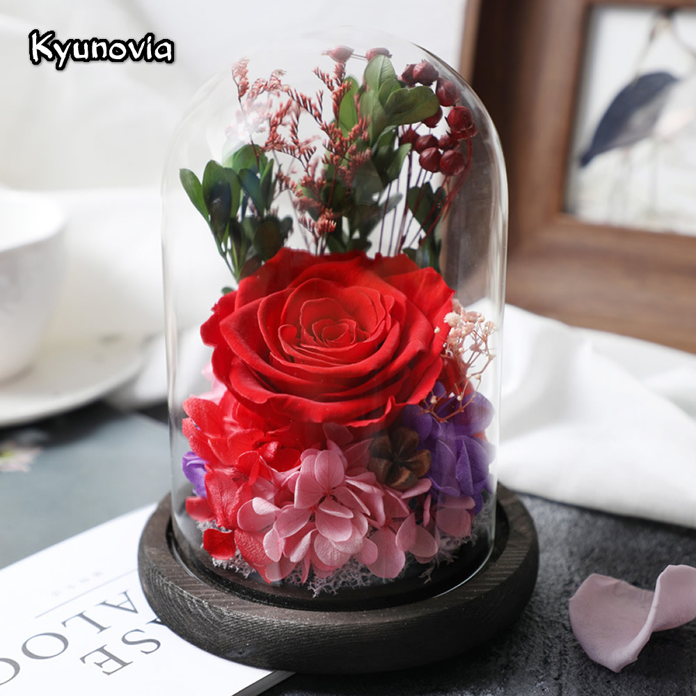 Kyunovia Blue Red Pink Rose in a Glass Preserved Rose Flower Wife Lover Valentine's Day Birthday Gift This is a real rose KY114