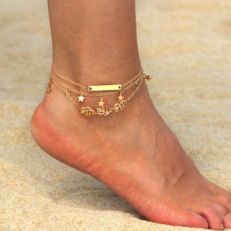 1ed5af98a 2pcs set Star Leave Ankle Bracelet Barefoot Sandals Anklets For Women Beach  Foot Jewelry Gold