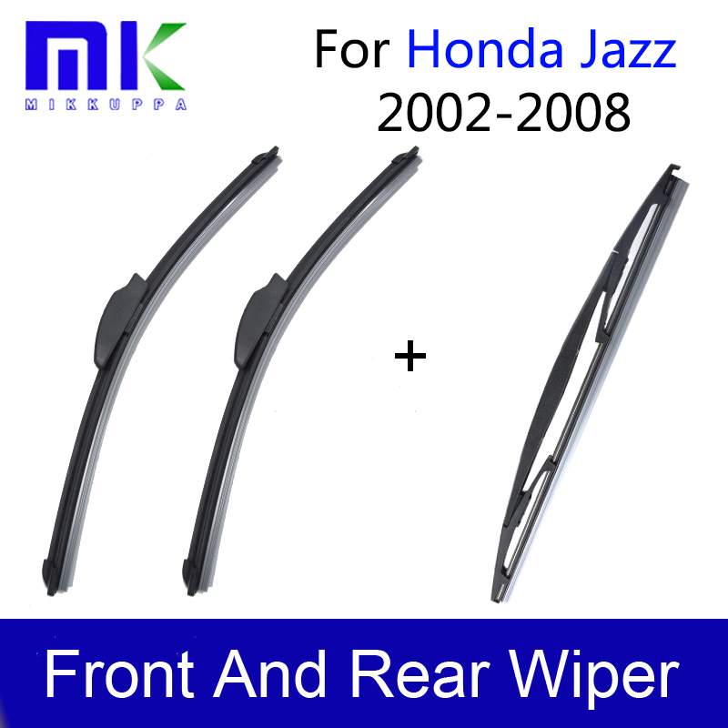 Front And Rear Wiper Blades For Honda Jazz 2002 2003 2004 2005 2006 2007 2008 Windscreen Windshield Wipers Auto Car Accessories sumks wiper blades for honda insight 26