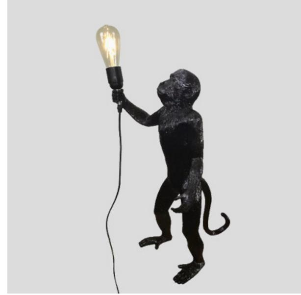 Postmodern Resin White/Black Monkey Loft Vintage Hemp Rope  Pendant Light For Replicas Resin Seletti Hanging Monkey Lamp
