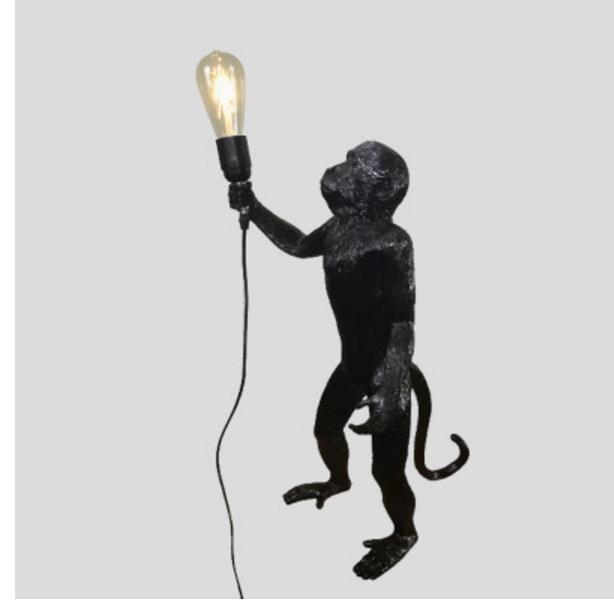 Resina preto branco macaco luz pingente para sala de estar lâmpadas sala estar estudo arte luzes led lustre com e27 lâmpada led - 5