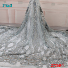 Африканская кружевная ткань с бусинами вышитая нигерийская талевая кружевная ткань свадебная ткань высокого качества французский Тюль YA2736B-1