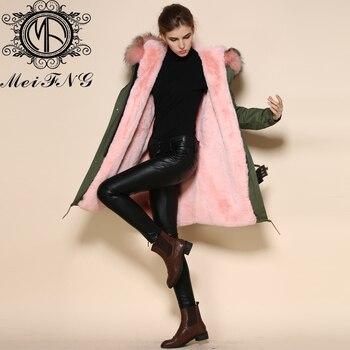 Светильник, розовая Женская парка с меховым подкладом с большим капюшоном из енота, теплая зимняя куртка размера плюс с меховым воротником