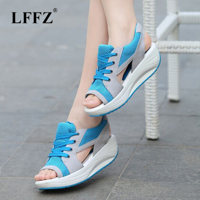 Women's Sandals Lace-Up Ladies Wedges Breathable Casual Summer Fashion Mesh Lzzf