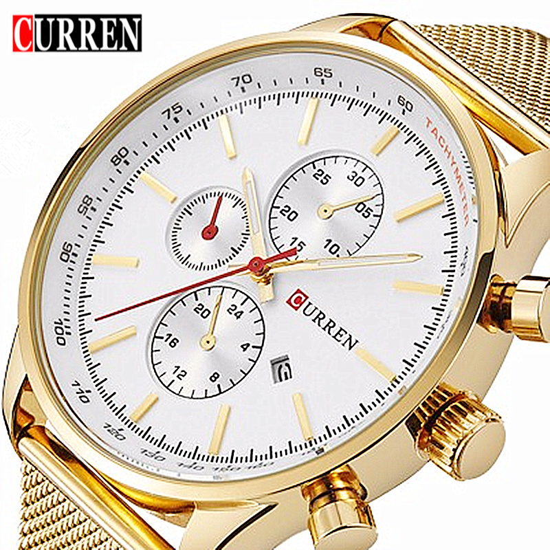 Curren 8227 Men Quartz Watch Luxury Brand Gold Mesh Strap Mens Wristwatch Casual Male Sport Clock Man Watches Relogio Masculino new watches men luxury brand sinobi sport casual quartz watch fashion mesh strap waterproof clock male relogio masculino