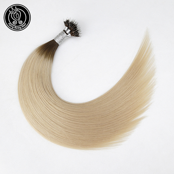 """Micro Beads Fusion Hair Straight Pre Bonded Nano Tip Keratin Real Remy Human Hair Extension Ombre Champagne Color 16"""" 0.8g/s 40g"""