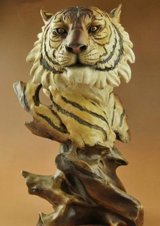 Chinois vieux Feng Shui ornements résine créative Statue grand chat tête de tigre buste Statue Sculpture animale