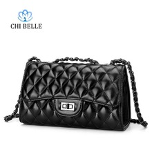 CHIBELLE new small fragrant wind Ling grid chain women bag Europe and the United States fashion ladies wave handbag shoulder bag 2018leather handbag fashion leather round bad bag chain shoulder scrub europe and the united states oblique messenger ladies bag