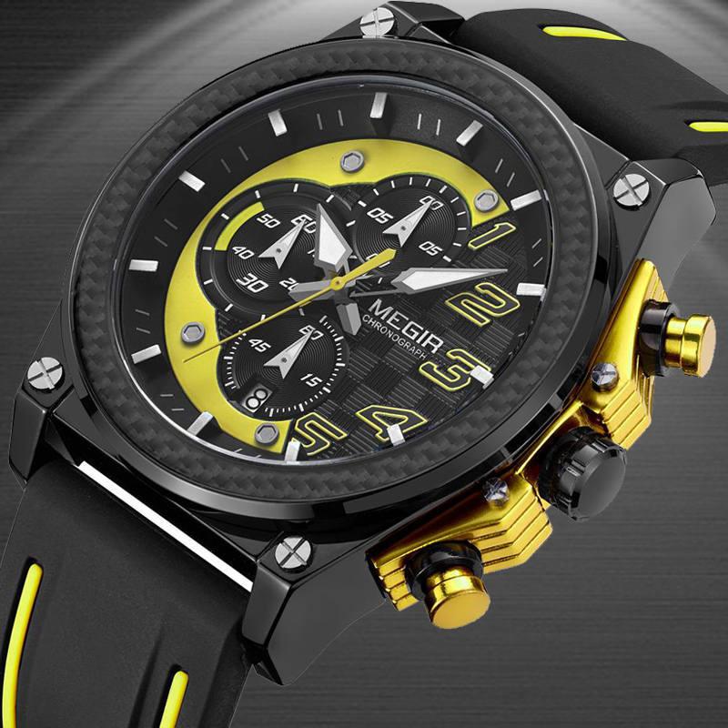 Megir мужские часы Аналоговые кварцевые наручные часы водонепроницаемые Хронограф Авто Дата Спорт военный часы мужской Relogio Masculino